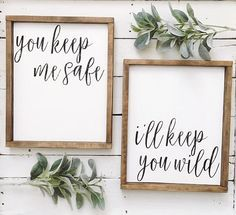 You keep me safe // I'll keep you wild wood sign set // pallet sign // framed sign // wood sign// wall decor // wall art - Wood Diy Rustic Signs, Wood Signs, Keep Me Safe, Sweet Home, Bedroom Signs, Diy Home Decor Projects, Decor Ideas, Craft Ideas, Pallet Projects