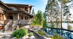 crayfish manor) offers high-quality accommodation in peaceful environment by the lake. Garden Bridge, Finland, Tourism, Places To Visit, Environment, Outdoor Structures, Restaurant, Cabin, House Styles