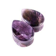Amethyst Teardrop Stone Plugs on Etsy, $26.99