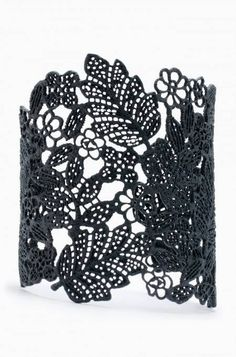 Chantilly Lace Cuff - Black by Stella & Dot, available on my personal website July 26th!  Matte black filigree cuff inspired by vintage lace. A beautiful statement piece.
