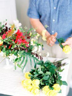 Flower arrangement almost complete