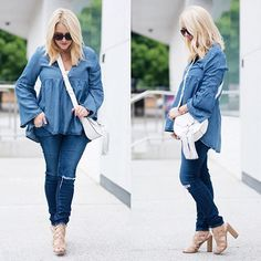 Denim on denim: now that is an incestuous relationship I can get behind.🙌🏻💙 Lots of inspiration for how to nail this trend, on the blog today! Also a couple major SALE ALERTS that you're gonna wanna see. Full deets right hurrrrr 👉🏻 gbofashion.com.  And outfit links right hurrrr 👉🏻 http://liketk.it/2oLv4 #liketkit @liketoknow.it #denimondenim #ootd #baublebar @rebeccaminkoff @hm