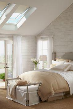 Skylight and vaulted ceiling.  VELUX skylight blinds   VELUX