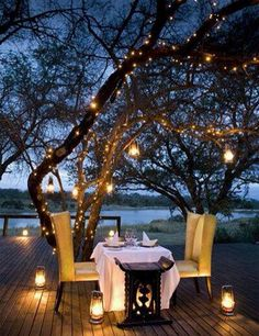 Romantic Date Night Idea ~ String lights on patio. Romantic Date Night Idea ~ String lights on patio. I would do this as a single woman, candle light dinners are just as relaxing and beautiful alone. Backyard Lighting, Outdoor Lighting, Outdoor Decor, Lighting Ideas, Porch Lighting, Outdoor Candles, Candle Lighting, Ceiling Lighting, Rustic Lighting