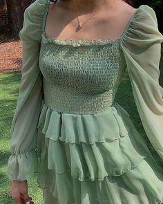 green dress November 14 2019 at fashion-inspo Casual Dresses, Casual Outfits, Fashion Dresses, Modest Fashion, Maxi Dresses, Fashion Clothes, Short Dresses, Mint Green Aesthetic, Aesthetic Light