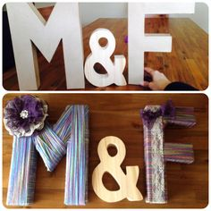 """Before and after of a lil decor project for my soon to be sis in laws bridal shower. (Still have to paint the """"&"""") Yarn Letters, Still Have, Bridal Shower, Crafty, Projects, Painting, Decor, Shower Party, Log Projects"""