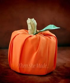 Then she made...: Then She Made ... Fall crafts (fabric-wrapped toilet paper pumpkin)