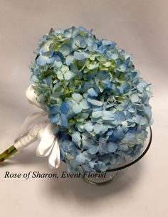 Antique Blue Hydrangea Bouquet - add touches of yellow and sola wood flowers to make it perfect for Kelly.