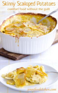 """""""Skinny"""" Scalloped Potatoes recipe at Jennifer's Kitchen. Sounds delicious, simple to make and healthier than normal. Vegan and gluten-free Vegan Foods, I Foods, Vegan Vegetarian, Vegetarian Recipes, Healthy Potato Recipes, Gluten Free Scalloped Potatoes, Whole Food Recipes, Cooking Recipes, Cuisine Diverse"""