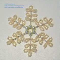 Beading for the very beginners: Beaded snowflake