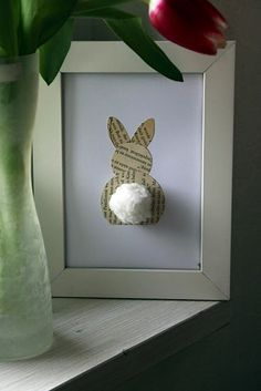Easter Bunny Frame (old book pages bunny silhouette, cotton ball tail)