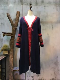 Contrast Color Embroidery Sleeve Chinese Vintage Cardigan Loose Coat  #ethnic #folk #vintage #embroidery #retro #coat #blue #cardigan
