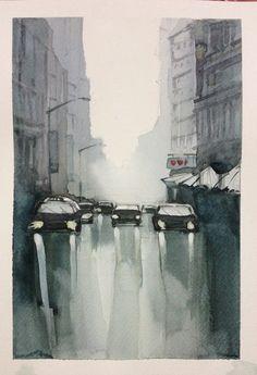 Gloomy foggy rainyday- watercolour by Sushanto