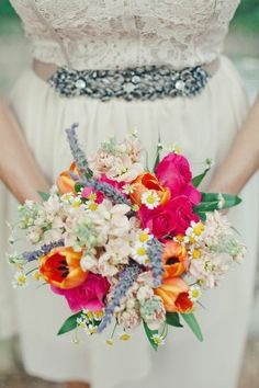 Bright Wildflower Bouquet | photography by  | floral design by  | wedding planning by
