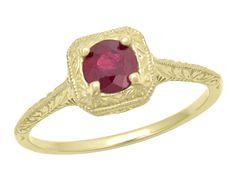 Filigree Scrolls Engraved Ruby Engagement  Ring in 14 Karat Yellow Gold $475.00 http://www.antiquejewelrymall.com/r183yr.html