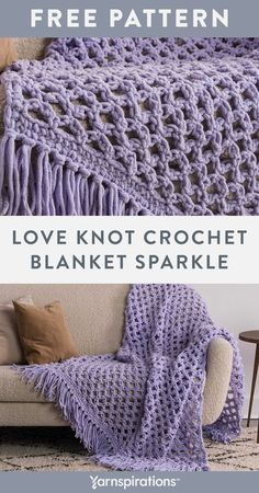 Free Love Knot Crochet Blanket Sparkle pattern using Bernat Blanket Sparkle yarn. Try the Solomon's knot technique to create this lofty and lacy crochet blanket that adds warmth and beauty to a room. Finished with a playful fringe, it's a modern accent that won't go unnoticed in your home. #Yarnspirations #FreeCrochetPattern #CrochetAfghan #CrochetThrow #CrochetBlanket #SolomonsKnot #BernatYarn #BernatBlanketSparkle