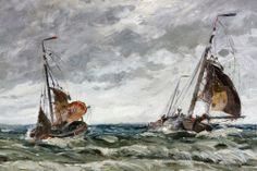 Charles Gruppe (American 1860-1940), boats on a stormy sea, oil on canvas