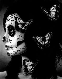 Day of the Dead Poster Sugar Skull Girl Butterfly Tattoo Art Wall Art Flutter By inch Signed Art Print Dia De Los Muertos - My Sugar Skulls Sugar Skull Girl, Sugar Skull Makeup, Sugar Skulls, Tattoo Studio, Crane, Los Muertos Tattoo, Day Of The Dead Girl, Catrina Tattoo, Dead Hair