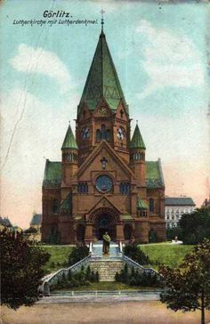 Kościół luterański , Zgorzelec - 1908 rok, stare zdjęcia Old Postcards, Cologne, Cathedral, Poster, Building, Places, Travel, Augsburg, Postcards