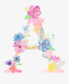 Flowers letter a PNG and Clipart Watercolor Lettering, Floral Watercolor, Hand Lettering, Cute Wallpapers, Wallpaper Backgrounds, Iphone Wallpaper, Vintage Clipart, Flamingo Rosa, Alphabet Wallpaper