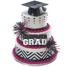 Congrats Grad and Cap Stacked Cake in Pink