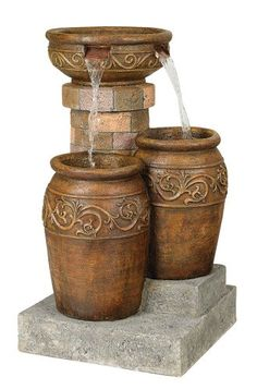 Add soothing Zen sounds to an outdoor space with this rustic fountain design from John Timberland. Tuscan stone traditional garden patio fountain from the John Timberland brand. Style # 55499 at Lamps Plus. Patio Fountain, Fountain Design, Modern Fountain, Fountain Ideas, Style Villa, Tuscan Colors, Tuscany Decor, Rustic Italian, Italian Farmhouse Decor