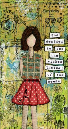 Serendipity Girl Art Mixed Media Collage Canvas - See The Wishes.