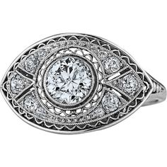 Preowned Bailey Banks & Biddle Art Deco Diamond Platinum Engagement Ring  found on Polyvore featuring women's fashion, jewelry, rings, multiple, art deco diamond rings, pre owned diamond rings, filigree engagement rings, diamond engagement rings and round engagement rings