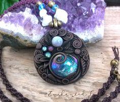 SPEDIZIONE GRATUITA! Gypsy Goccia di Vetro Fatata Iridescente Acqua con Pietra di Luna Arcobaleno Macrame