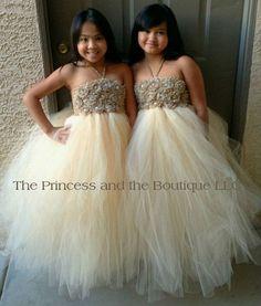 Flower girl dress  tutu dress champagne chiffton roses, baby tutu dress, toddler tutu dress, Newborn - size 7 child