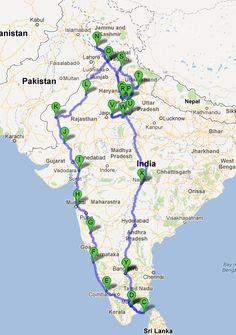 India Road Trip - Google Map
