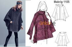 """¿Te gustar andar con leggins? Prueba usarlas con este """"poncho-abrigo"""" y unas buenas botas altas. El molde está en www.unicose.net / Código 10011105"""