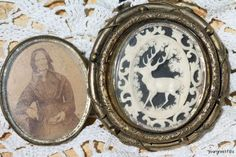 Antique 19th C. hair brooch. This large piece is double sided. One side has masterfully carved ivory encased in glass. The center piece pivots and the other side was made to hold human hair, but instead it holds a photo of the original owner of this brooch, wearing this brooch in the photo. Wish I knew her name.