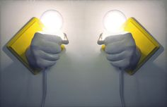 Custom Pair of Matching Hands Holding Bulbs Wall Votives (Custom). $80,00 USD, via Etsy.