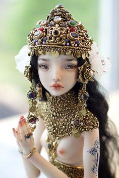 asylum-art: Enchanted Doll By Marina Bychkova The porcelain. New Dolls, Ooak Dolls, Marina Bychkova, Enchanted Doll, Dream Doll, Polymer Clay Dolls, China Dolls, Sculpture, Ball Jointed Dolls