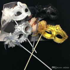 Luxury Diamond Woman Mask On Stick Sexy Eyeline Venetian Masquerade Party Mask Sequin Lace Edge Lateral Flower Gold Silver Black White Color Eye Masks For Halloween Eye Masks For Masquerade Ball From Calytao, $1.31| Dhgate.Com