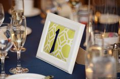framed table numbers, apple green burlap and navy numbers ?