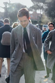 This gray suit is one of the best street style photos from the Fall 2016 men's shows.