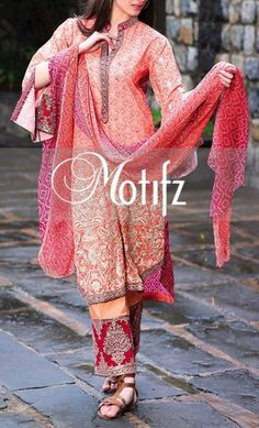 Buy Light Peach/Maroon Embroidered Cotton Lawn Dress by Motifz 2016 www.pakrobe.com Call:(702) 751-3523 Email: Info@PakRobe.com www.pakrobe.com/... #DESIGNER #LAWN #DRESSES