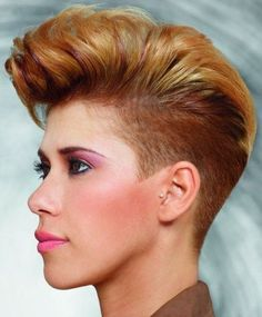 red short hairstyle with shaved sides, violet highlights on red hair