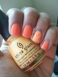ORANGE GEOMETRIC ACCENT NAIL | Products Used: Sally Hansen Xtreme Wear Sun Kissed, China Glaze Metro Pollen-Tin, Nail Art Brush, China Glaze Fast Forward Topcoat