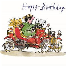 Birthday card swedish greeting ginger cat card ginger cats quentin blake classic car happy birthday greeting card square humour range cards by the popular illustrator order today with free uk delivery bookmarktalkfo Choice Image