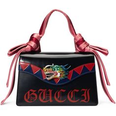 Gucci Naga Dragon Leather Shoulder Bag (13.350 RON) ❤ liked on Polyvore featuring bags, handbags, shoulder bags, purses, gucci, women, man bag, hand bags, shoulder handbags and gucci handbags