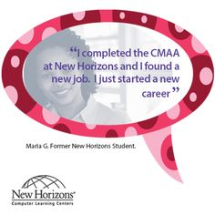 Congratulations to Maria on your new job!  #career #cmaa #newhorizons #jobs