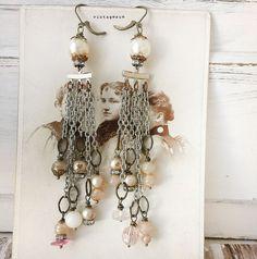 pearlChimeassembled chandelier earrings handmade jewelry by Arey