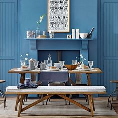 Denim blue dining room with bench - cushion for the bench