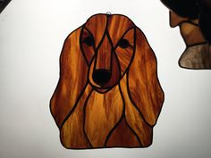 Long Haired Dachshund in Stained Glass by robinsglassworld on Etsy