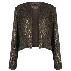 Sequin Cropped Jacket ($125) ❤ liked on Polyvore featuring outerwear, jackets, brown jacket, lined jacket, sequin crop jacket, brown cropped jacket and sequin jacket