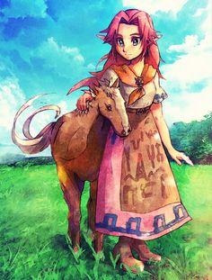 Malon and Epona❤️ The Legend Of Zelda, Legend Of Zelda Characters, Legend Of Zelda Breath, Fictional Characters, Breath Of The Wild, Malon Zelda, Twilight Princess, Princess Zelda, Zelda Video Games