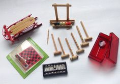 Dollhouse Vintage Miniature Red Toboggan, Checkers, Croquet, Abacus, Lollipop #Unbranded